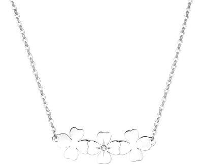 Oceľový náhrdelník sa štvorlístkami Trio SRI09