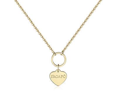 Pozlacený náhrdelník s přívěskem srdce Happy SHAC40