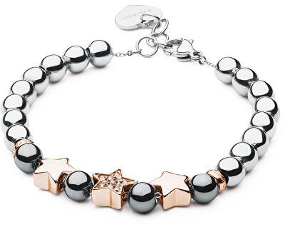 Brățară romantică din oțel romantic, cu stele Bonjour SBJ18