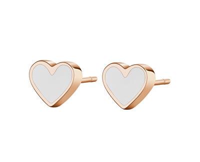 Cercei inimioare placati cu aur roz SCK83