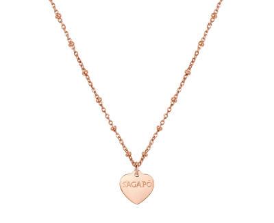 Růžově zlacený náhrdelník Happy SHAC45