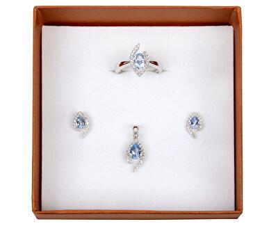 Inel din argint cu cristal albastru SC115