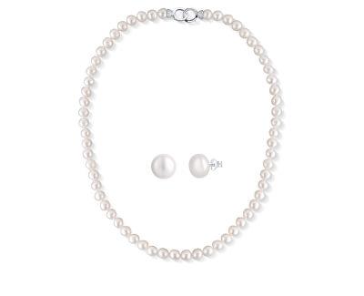 Zvýhodněná sada šperků s perlami SVLN0010SD2P1, SVLE0545XD2P106 (náhrdelník, náušnice)