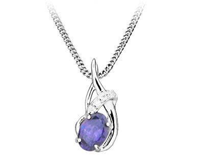 Módní náhrdelník s amethystovým zirkonem SC435