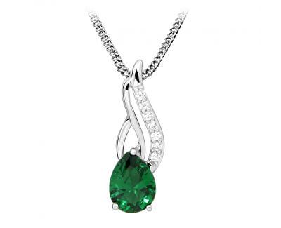 Módní náhrdelník se zirkony a smaragdovým sklem SC395