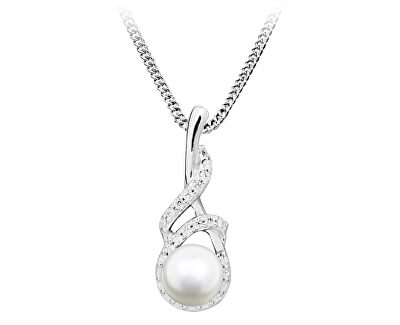 Něžný náhrdelník s perlou a zirkony SC413