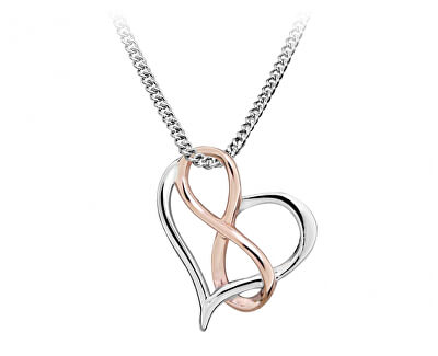 Romantický srdíčkový bicolor náhrdelník se symbolem nekonečno SC428