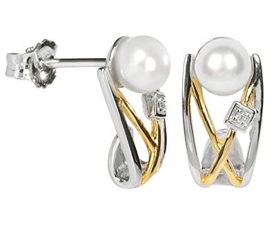Cercei de argint cu perlă și cristal SC153