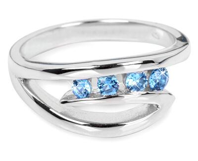 Inel din argint cu cristale albastre SC136