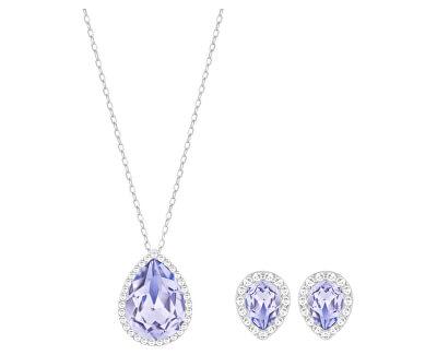 Půvabná sada šperků s modrými krystaly Fashion Jewelry 5347548 (náušnice, náhrdelník) - SLEVA