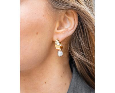 Půvabné pozlacené náušnice s pravými perlami Agnethe SKJ1394710