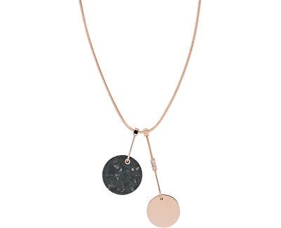 Půvabný bronzový náhrdelník s mramorem a krystaly Ellen SKJ1373791