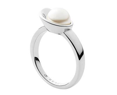 Půvabný ocelový prsten s perlou Agnethe SKJ1369040