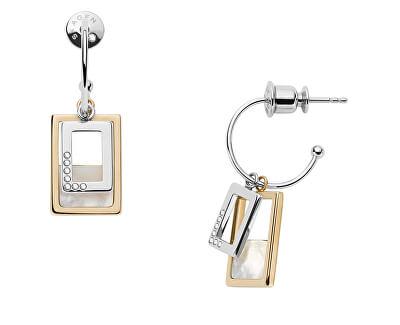 Nadčasové ocelové náušnice s perletí a krystaly 2v1 Agnethe SKJ1427998