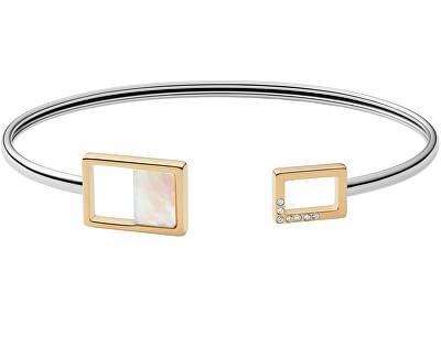 Pevný ocelový náramek s perletí a krystaly Agnethe SKJ1428998