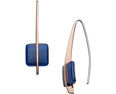 Cercei din oțel placat cu aur roz cu sticlă albastră SKJ1135791