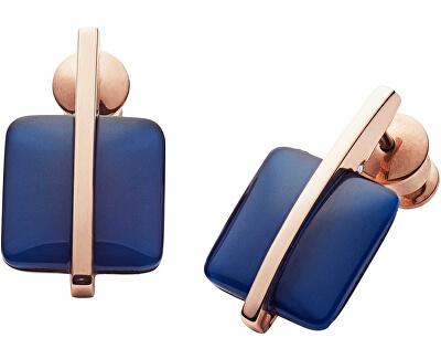 Cercei din oțel placat cu aur roz cu sticlă albastră SKJ1136791