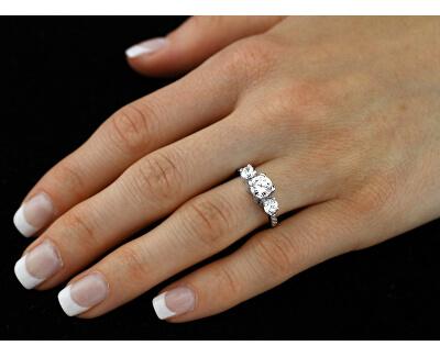 Zirkonový zásnubní prsten Via ze stříbra JJJR0801