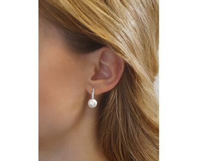 Strieborné náušnice CASSIDY s bielou prírodnou perlou LPSP0639