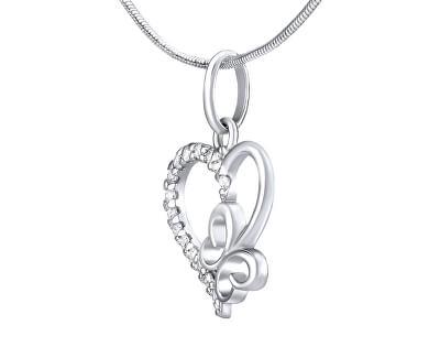 Colier din inimă argintie cu papion ZT54279