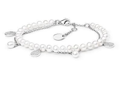 Elegantní stříbrný náramek s perlami a zirkony GRP20213BW16
