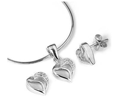 Set din argint - Inimi strălucitoareJJJS659 (cercei, pandantiv)
