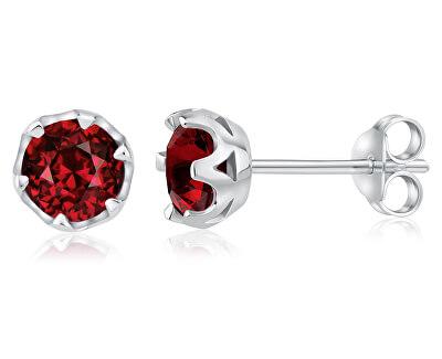 Stříbrné náušnice s pravým červeným Granátem JJJ0242GR