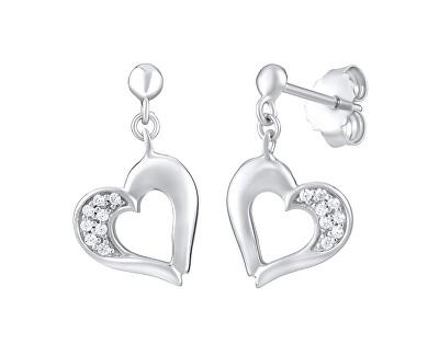 Cercei de inimă din argint cu zirconii FW8680