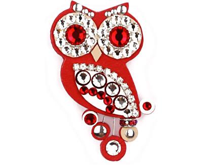 Broșă mică model bufniță culoare roșie