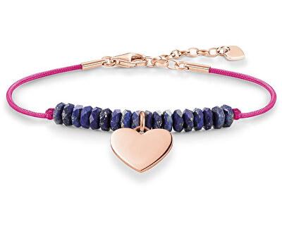 Brățară roz cu margele și inimă albastră LBA0081-906-1-L19,5v