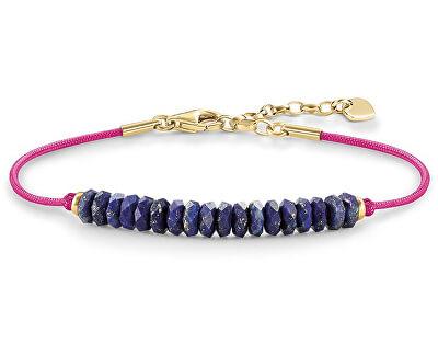 Růžový náramek s modrými korálky LBA0077-892-1-L19,5v