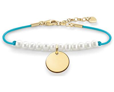 Tyrkysový náramok s perličkami a príveskom LBA0083-900-14-L19,5v