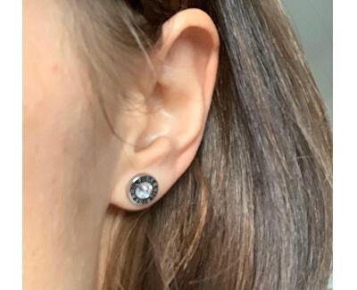 Ocelové náušnice pecky s krystalem TH2700259