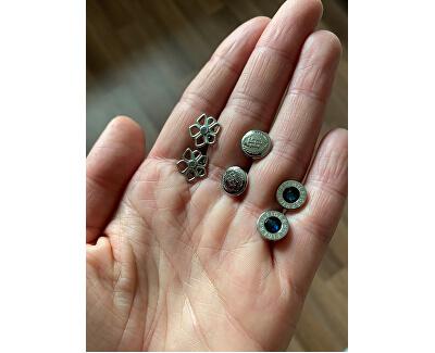 Ocelové náušnice s modrým krystalem TH2700260