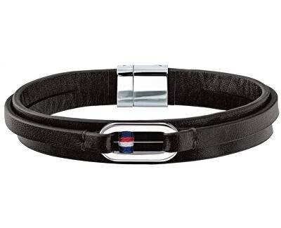 Čierny kožený náramok TH2790028