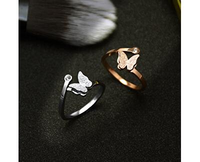 romantischer Bronze Ring mit Schmetterling
