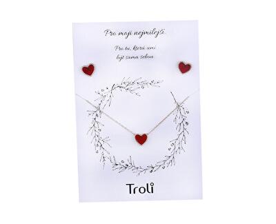 Bronzová súprava šperkov s červeným stredom (náušnice, náhrdelník)