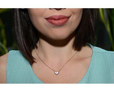 Bronzová súprava šperkov s perleťovým stredom (náušnice, náhrdelník)