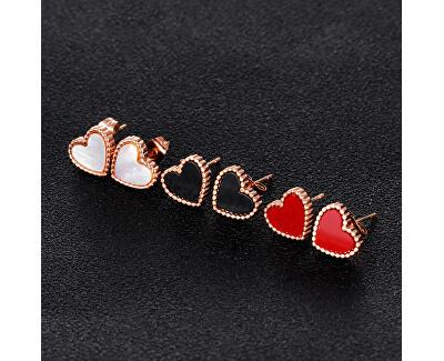Bronzové srdiečkové náušnice s perleťovým stredom