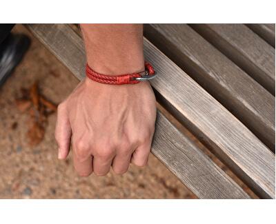Červený kožený náramok s karabínou