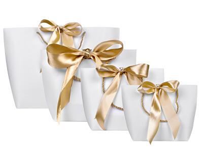 Geantă cadou cu panglică de aur M