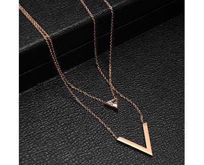 Dvojitý bronzový náhrdelník s trojuholníkmi