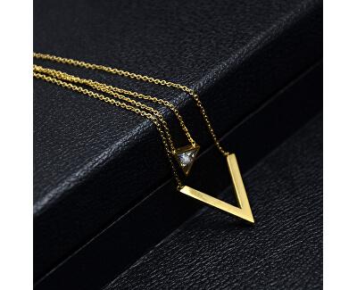 Dvojitý pozlátený náhrdelník s trojuholníkmi