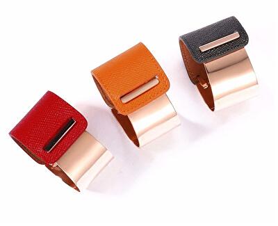 Fashion náramok z ocele a kože bronzový / čierny