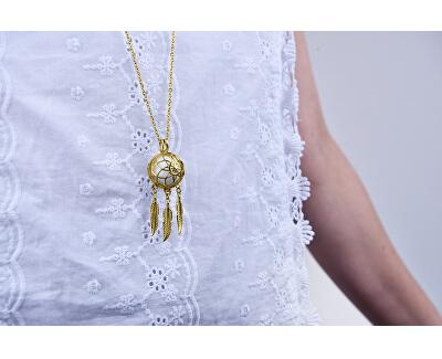 Multifunktionale vergoldete Halskette Traumfänger mit austauschbarer Mitte 132462J
