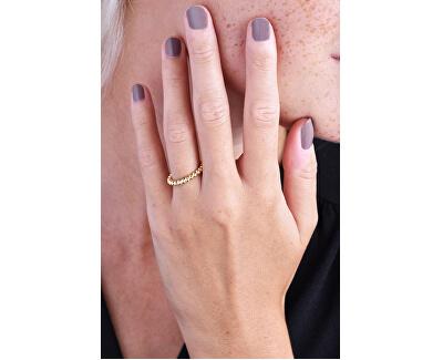 Stylový pozlacený kuličkový prsten