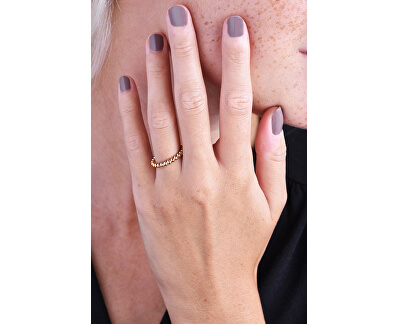 Stylový růžově zlacený kuličkový prsten