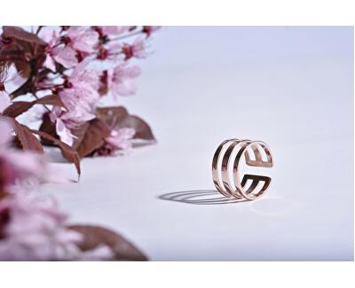 stilvoller dreifacher Ring aus rosevergoldetem Stahl