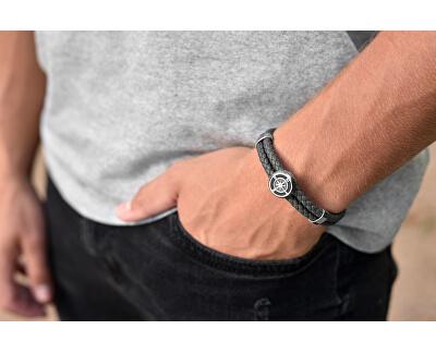 Tmavo šedý kožený náramok s kompasovú ružicou