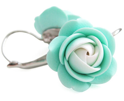 Cercei floare alb-mentol